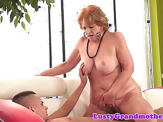 Chubby granny sucking on a cock riding it