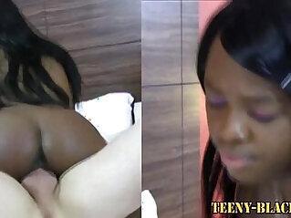 Black haired teen swallows cum