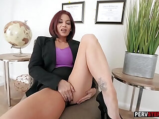 Redhead busty stepmom played with her wet pussy