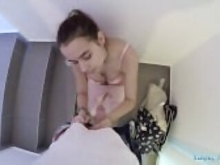Public Agent Russian student with shaven pussy gets fucked in stairwell