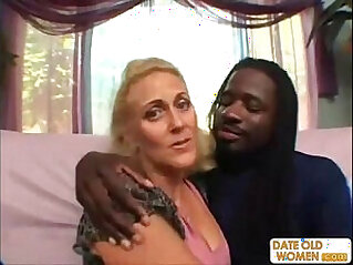 Horny granny does nasty things with black guy