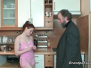 Redhead gets licked by her boss