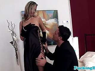 Glamour euro babe takes cock in all holes