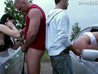 A pussy throughout the car window for anyone to fuck in public gang bang dogging