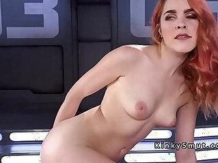 Hairy redhead squirts on fucking machine