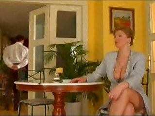 First class mature sexy lady fucked by lucky waiter