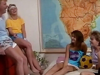 Hot retro orgy with teen girls and big dicks