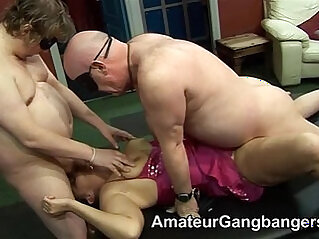 Older men lick and fuck younger women