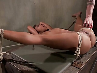 Tied up ebony sub obeys her master during their bdsm session