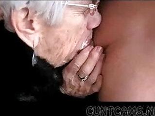 Granny Sucks Boys Cock for Her Birthday More