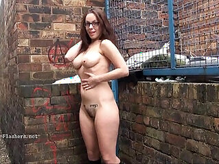 Geeky outdoor public nudity of sexy babe flashing boobs and showing