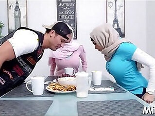 Have a look at the stunning threesome by two horny arab sluts