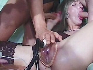 Pussy pump group sex and fisting