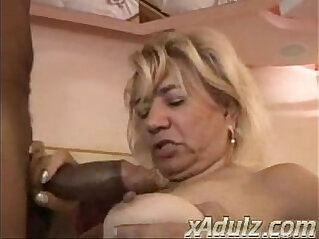 Fat Blonde Doing Crochet Gets her Horny and Fucks Huge Black Cock