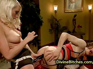 Busty blond fucks guy dressed like woman