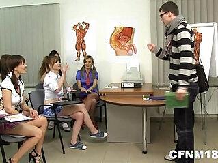 CFNM teens fuck a college teacher