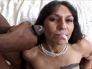Mature black mamba cock gets a big facial in Hot Mom Pussy Video