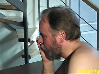 Cute blonde daughter her ass with father