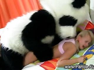 Plush panda and teen facial at bizarre niche