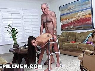 BLUE PILL MEN Grandpa Popping Pills and Fucking Tight booty Latina Pussy!