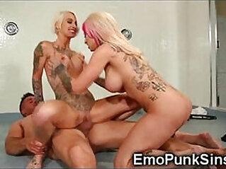 Tattoed Punk Bitches Get Huge Facial!