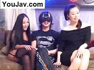 Lucky Chinese Guy fucking Japanese Korean girls in Black