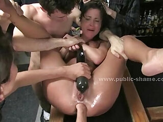 Men fuck slut in fast food spanking the slave before fucking her roughly