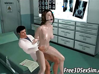 Tied up 3D cartoon babe loves getting fucked