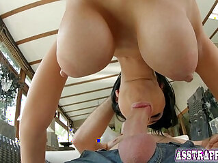 Anal sex and sock sucking for big boobed Kyra Queen