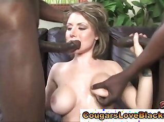 Busty mature takes on two cocks