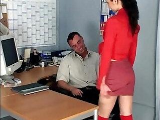 Skinny secretary fucking in knee high stockings