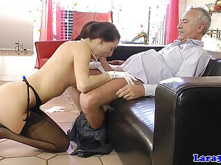 European mature babe masturbating her pussy with her husband