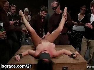 Bdsm brunette on wooden box fucked
