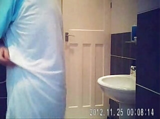 Hidden cam in bath room finally caught my cute mom nude !!