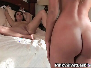 Two hot brunette and blonde lesbians get horny