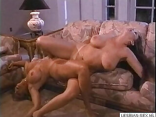 Blonde brunette lesbians suck and rub pussies together on More