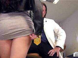 BUMS BUERO German brunette babe Lullu Gun gets banged by boss in the office