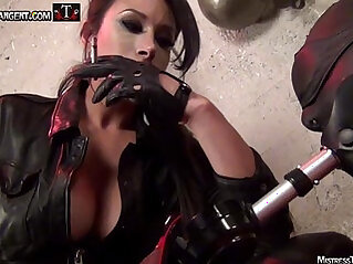 Mistress Tangent sensuous smoke and leather domination of male submissive
