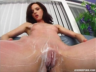 Give Me Pink Teen rubs her wet pussy fingers her supple ass on camera