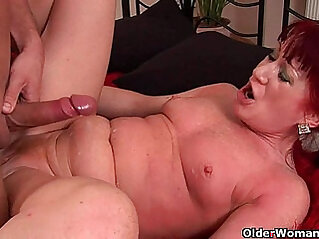 Red hot granny with small tits rides his cock