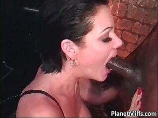 Horny black fucks busty brunette MILF