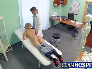 Sexy young blonde Tracy sucks fucks the pervy doctors cock