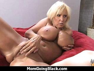 Big tits white cougar fucks a lucky black guy