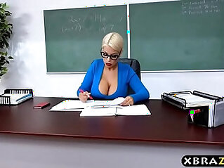 Huge natural tits latina teacher jerks and fucks a student