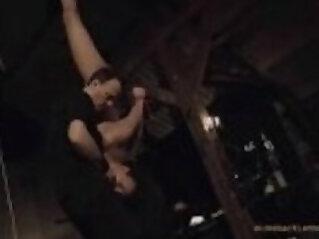 Ballgagged bondage damsel leather punishment under excessive fuck